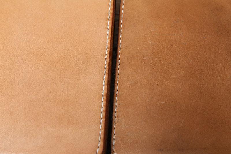 ヌメ革財布の麻糸の太さを変えてみると、、、