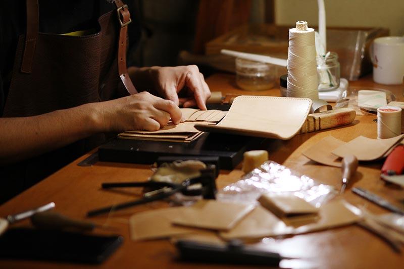 当店の革財布制作の基本工程