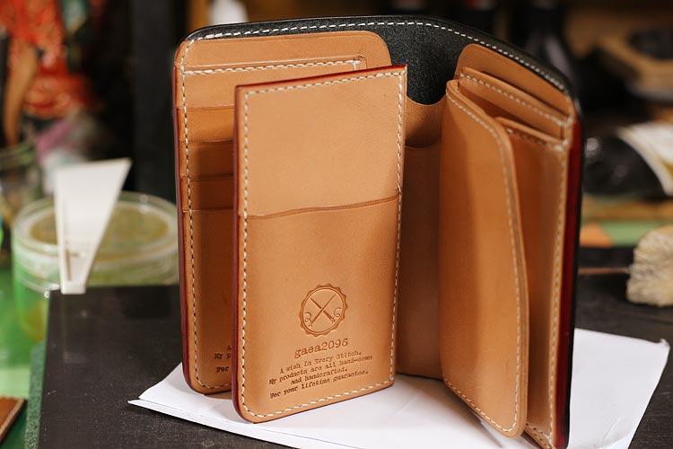 ブライドルレザーのミドル財布をカスタム。レクサス・カードキーポケットを取り付ける