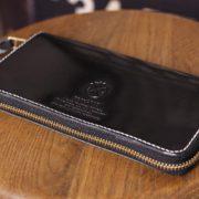 ヌメ革仕立てのラウンド長財布、カスタム事例