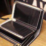 カード入れをファスナー仕様でカスタムメイドしたヌメ革ミドル財布~二つ折り財布の小銭れとカード入れをダブルでファスナータイプでお作りしました
